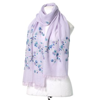【Daimond  Flower Pattern (ダイヤモンドフラワー)】薄手ウール・シルク アリー手刺繍ストール (ライトブルー)