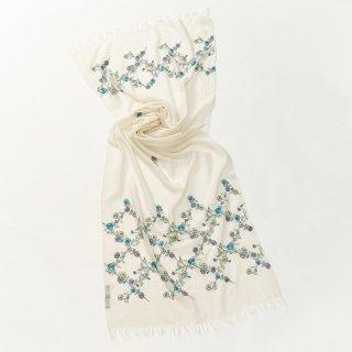 【Daimond Flower Pattern (ダイヤモンドフラワー)】薄手ウール・シルク アリー手刺繍ストール(ホワイト)