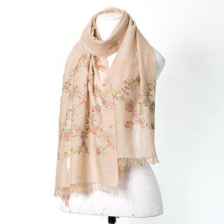 【Daimond Flower Pattern (ダイヤモンドフラワー)】薄手ウール・シルク アリー手刺繍ストール(ベージュ)