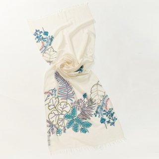 【Botanical Flower(ボタニカルフラワー】薄手ウール・シルク アリー手刺繍ストール(ホワイト/ターコイズ)