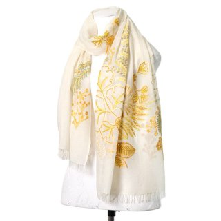 【Botanical Flower(ボタニカルフラワー】薄手ウール・シルク アリー手刺繍ストール(ホワイト/イエロー)