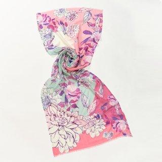 【オリジナル*プリントストール】 フラワー 薄手ウール・シルク素材(ピンク)