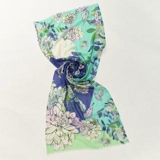 【オリジナル*プリントストール】 フラワー 薄手ウール・シルク素材(ターコイズ)