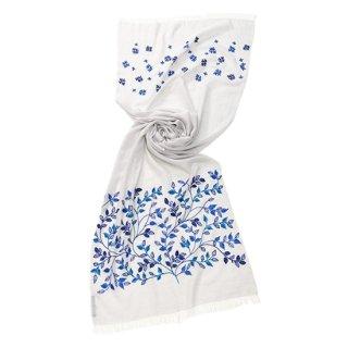 【Leaf & Small Flower(リーフ&スモールフラワー】薄手ウール・シルク アリー手刺繍ストール(ライトブルー)
