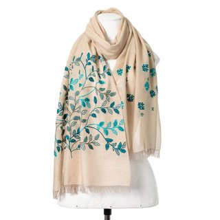 【Leaf & Small Flower(リーフ&スモールフラワー】薄手ウール・シルク アリー手刺繍ストール(ライトカーキ)