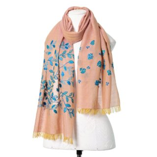 【Leaf & Small Flower(リーフ&スモールフラワー】薄手ウール・シルク アリー手刺繍ストール(ペールオレンジ)