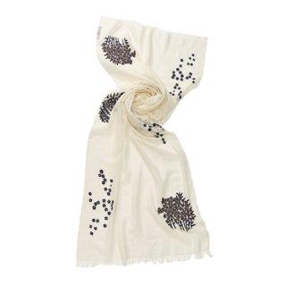 【Small Flower (スモールフラワー)】薄手ウール・シルク 小花柄 アリー手刺繍ストール(ホワイト/ブラック)