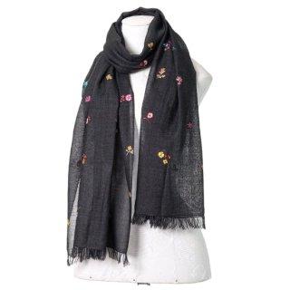 【Small Botanic Flower(スモールボタニックフラワー)】薄手ウール・シルク ニードル手刺繍ストール(オフブラック)
