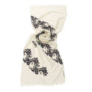 <img class='new_mark_img1' src='https://img.shop-pro.jp/img/new/icons8.gif' style='border:none;display:inline;margin:0px;padding:0px;width:auto;' />【NEW LACE STOLE(ニューレースストール)】薄手ウール・シルク フラワーモチーフ アリー手刺繍ストール(ホワイト/ブラック)