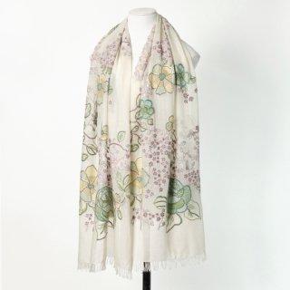 【FLOWERS(フラワー)】薄手ウール・シルク アリー手刺繍ストール (ホワイト/グリーン)