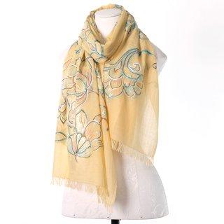 【22%OFF】【WILD FLOWER(ワイルドフラワー)】 薄手ウール・シルク アリー手刺繍ストール (ライトマスタード)