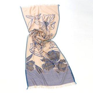 【LINE & DOT FLOWER(ライン&ドットフラワー】薄手ウール・シルク アリー手刺繍ストールストール(ベージュ)