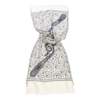 【Flower & Paisley(フラワー&ペイズリー)総柄】ウール素材 ニードル手刺繍ストール (ホワイト/ブラック)