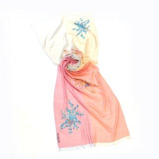 【4Pastel  & Flower Bouquet(4パステル&フラワーブーケ)】薄手ウール・シルク アリー手刺繍ストール(コーラルピンク/オレンジ)