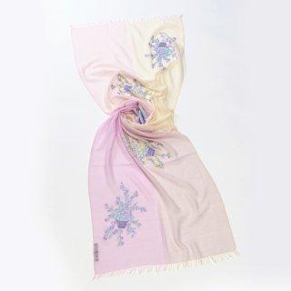 【10%OFF】【4Pastel  & Flower Bouquet(4パステル&フラワーブーケ)】薄手ウール・シルク アリー手刺繍ストール(ラベンダー/ベージュ)
