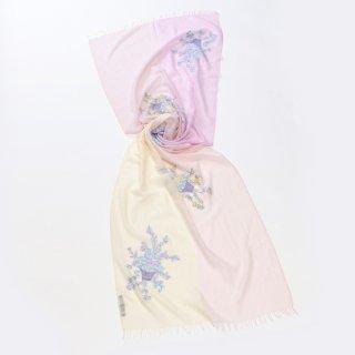 【10%OFF】【4Pastel  & Flower Bouquet(4パステル&フラワーブーケ)】薄手ウール・シルク アリー手刺繍ストール(ライトベージュ/ラベンダー)