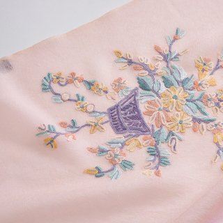 【10%OFF】【4Pastel  & Flower Bouquet(4パステル&フラワーブーケ)】薄手ウール・シルク アリー手刺繍ストール(ライトオレンジ/ピンク)