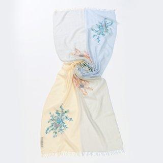 【10%OFF】【4Pastel  & Flower Bouquet(4パステル&フラワーブーケ)】薄手ウール・シルク アリー手刺繍ストール(ライトベージュ/ライトブルー)