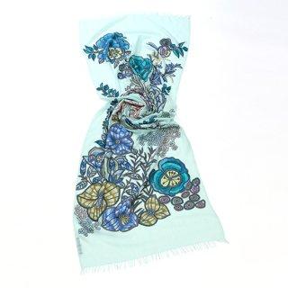 【DREAM GARDEN(ドリームガーデン)】薄手ウール・シルク アリー手刺繍ストール(ライトグリーン)