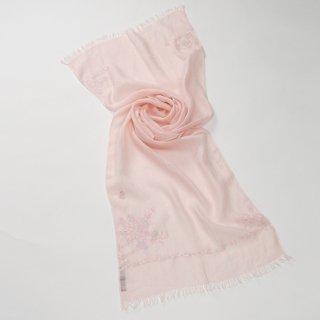 【17%OFF】【Small Flower Boquet(スモールフラワーブーケ】麻素材 アリー手刺繍ストール(ベビーピンク)
