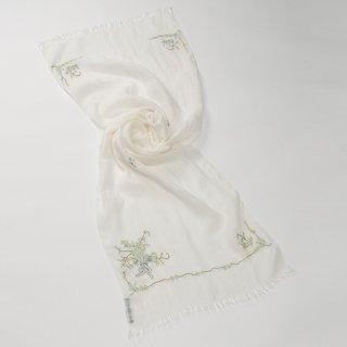 【17%OFF】【Small Flower Boquet(スモールフラワーブーケ】麻素材 アリー手刺繍ストール(ホワイト/イエロー)