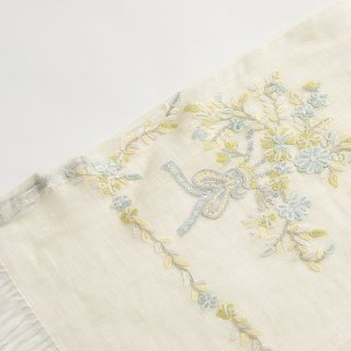 【17%OFF】【Small Flower Boquet(スモールフラワーブーケ】麻素材 アリー手刺繍ストール(レモン)