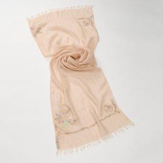 【17%OFF】【Small Flower Boquet(スモールフラワーブーケ】麻素材 アリー手刺繍ストール(ベージュ)