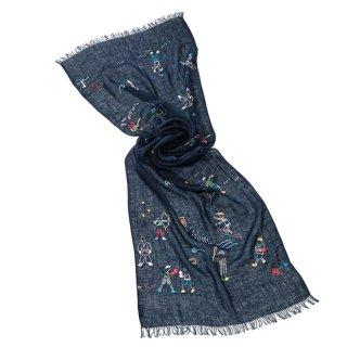 【10%OFF】【OLYMPIC(オリンピック)】麻素材 アリー手刺繍ストール  (ネイビー)