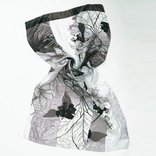 【オリジナル*シルクプリントストール*大判サイズ】 <BOTANICAL MONOTONE(ボタニカルモノトーン)>80X100cm (ブラック/ホワイト)