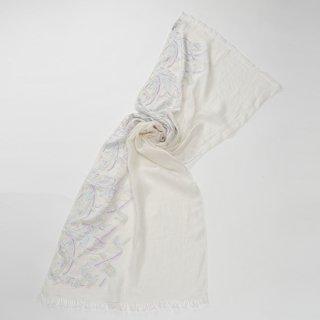 【FLOWER BOUQUET(フラワーブーケ)】麻素材 アリー手刺繍ストール(ホワイト/ホワイト)