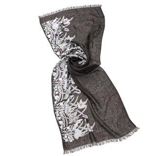 【FLOWER BOUQUET(フラワーブーケ)】麻素材 アリー手刺繍ストール(オフブラック/ホワイト)