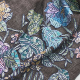 【10%OFF】【Flower Boquet(フラワーブーケ】麻素材 アリー手刺繍ストール(オフブラック)