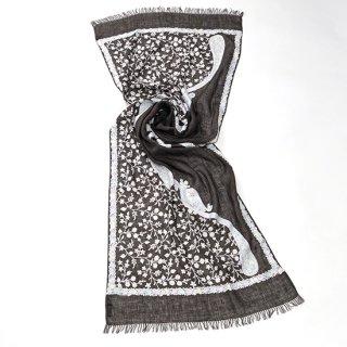 【CAPE PAISLEY & FLOWERS (ケープペイズリー&フラワー)】麻 アリー手刺繍ストール (オフブラック/ホワイト)