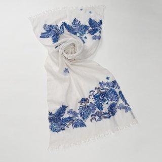 【20%OFF】【Flamingos(フラミンゴ)】麻素材 アリー手刺繍ストール(ホワイト)