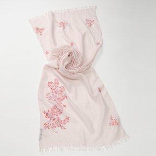 【10%OFF】【SUMMER GIFT SERIES (サマーギフトシリーズ)】麻 アリー手刺繍ストール(ライトピンク)