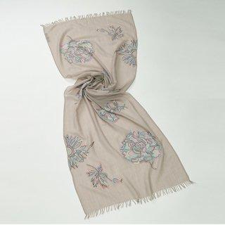 【BIG PASTEL FLOWERS SERIES(ビッグパステルフラワーシリーズ)】薄手ウール・シルク  アリー手刺繍ストール