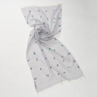 【Small Botanic Flower(スモールボタニックフラワー)】薄手ウール・シルク ニードル手刺繍ストール(ライトグレー)
