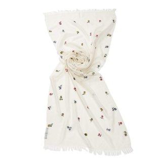 【Small Botanic Flower(スモールボタニックフラワー)】薄手ウール・シルク ニードル手刺繍ストール(ホワイト)