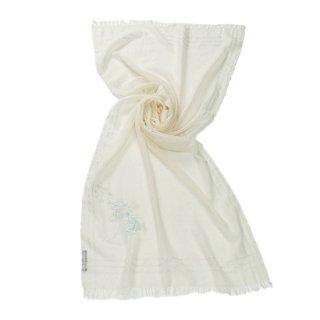 【NEW CEREMONY SERIES_2(ニューセレモニーシリーズ_2)】薄手ウール・シルク アリー手刺繍(ホワイト)