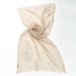 【10%OFF】【NEW CEREMONY SERIES(ニューセレモニーシリーズ)】薄手ウール・シルク アリー手刺繍(ライトベージュ)