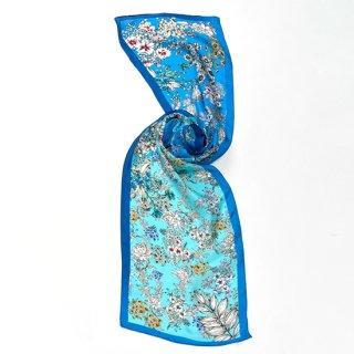 【20%OFF】【オリジナル*シルクプリントストール*小さめサイズ】 <FLOWERS(フラワーズ)>30X150cm(ブルー)