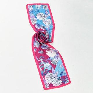 【20%OFF】【オリジナル*シルクプリントストール*小さめサイズ】 <ORIENTAL FLOWERS(オリエンタルフラワーズ)>30X150cm(フューシャピンク)