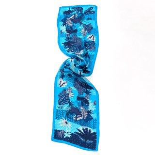 【20%OFF】【オリジナル*シルクプリントストール*小さめサイズ】 <PALM TREE(パームツリー)>30X150cm(ブルー)