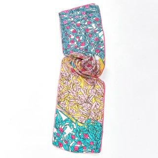 【20%OFF】【オリジナル*シルクプリントストール*小さめサイズ】<FLOWER ILLUSTRATION(フラワーイラスト)>30X150cm(ピンク)