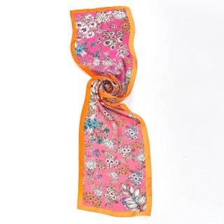 【20%OFF】【オリジナル*シルクプリントストール*小さめサイズ】 <FLOWERS(フラワーズ)>30X150cm(オレンジ)