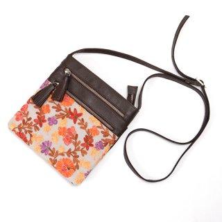 【FLOWER 3 ZIP SHOULDER BAG(フラワー3ジップポシェット】刺繍ポシェット オレンジB-VN1002_0171_ORANGE