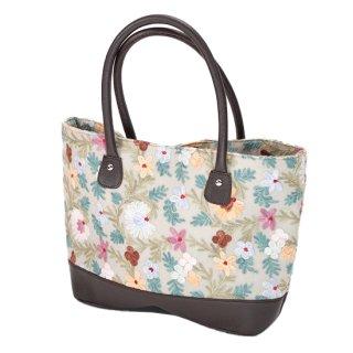 【FLOWER TOTE BAG(フラワートートバッグ)】マシン刺繍トートバッグ (グレー)