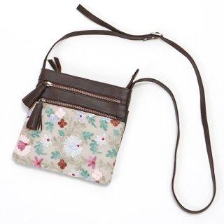 【FLOWER 3 ZIP SHOULDER BAG(フラワー3ジップポシェット】刺繍 ポシェット(グレー)