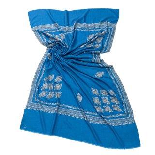 【Kashmir Cashmere】手織り カシミヤ ニードル手刺繍ショール【PREMIUM】(ロイヤルブルー)