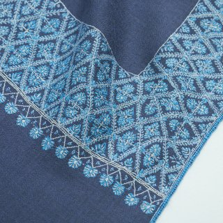 【Kashmir Cashmere】手織り カシミヤ ニードル手刺繍ショール【PREMIUM】(ダークグレー)